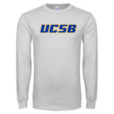 White Long Sleeve T Shirt-UCSB