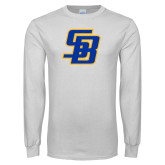 White Long Sleeve T Shirt-Interlocking SB