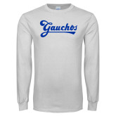 White Long Sleeve T Shirt-Gauchos Script