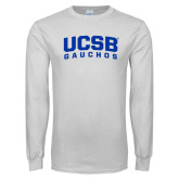 White Long Sleeve T Shirt-Arched UCSB Gauchos