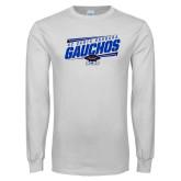 White Long Sleeve T Shirt-Slanted Gauchos Stencil