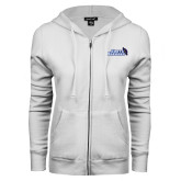 ENZA Ladies White Fleece Full Zip Hoodie-Santa Barbara with Hat