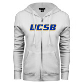ENZA Ladies White Fleece Full Zip Hoodie-UCSB