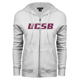 ENZA Ladies White Fleece Full Zip Hoodie-UCSB Pink Glitter