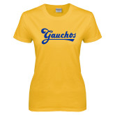 Ladies Gold T Shirt-Gauchos Script