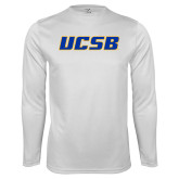 Performance White Longsleeve Shirt-UCSB