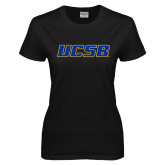 Ladies Black T Shirt-UCSB
