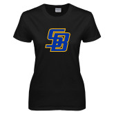 Ladies Black T Shirt-Interlocking SB