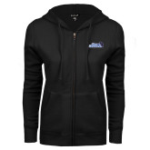 ENZA Ladies Black Fleece Full Zip Hoodie-Santa Barbara with Hat