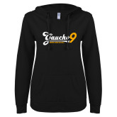ENZA Ladies Black V Notch Raw Edge Fleece Hoodie-Gauchos 9