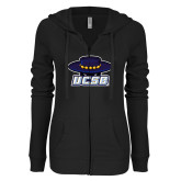 ENZA Ladies Black Light Weight Fleece Full Zip Hoodie-Primary