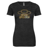 Next Level Ladies Junior Fit Black Burnout Tee-Primary Foil