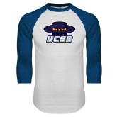White/Royal Raglan Baseball T Shirt-Primary