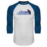 White/Royal Raglan Baseball T Shirt-Santa Barbara with Hat