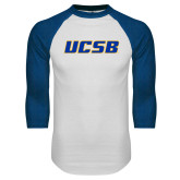 White/Royal Raglan Baseball T Shirt-UCSB