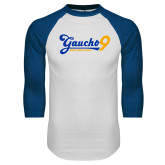 White/Royal Raglan Baseball T Shirt-Gauchos 9