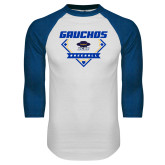 White/Royal Raglan Baseball T Shirt-Gauchos Baseball Diamond