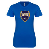 Next Level Ladies SoftStyle Junior Fitted Royal Tee-UCSB Soccer Shield