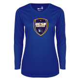 Ladies Syntrel Performance Royal Longsleeve Shirt-UCSB Soccer Shield