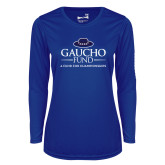 Ladies Syntrel Performance Royal Longsleeve Shirt-Gaucho Fund - A Fund For Champions