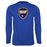 Performance Royal Longsleeve Shirt-UCSB Soccer Shield