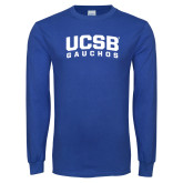 Royal Long Sleeve T Shirt-Arched UCSB Gauchos