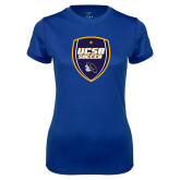 Ladies Syntrel Performance Royal Tee-UCSB Soccer Shield