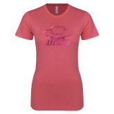 Next Level Ladies SoftStyle Junior Fitted Pink Tee-Primary Foil