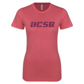 Next Level Ladies SoftStyle Junior Fitted Pink Tee-UCSB Pink Glitter