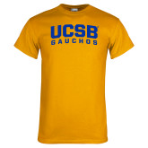 Gold T Shirt-Arched UCSB Gauchos