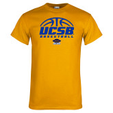 Gold T Shirt-UCSB Basketball Half Ball