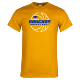 Gold T Shirt-Gauchos Basketball Lined Ball