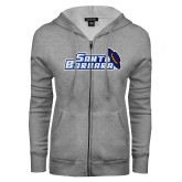 ENZA Ladies Grey Fleece Full Zip Hoodie-Santa Barbara with Hat
