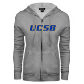 ENZA Ladies Grey Fleece Full Zip Hoodie-UCSB