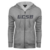 ENZA Ladies Grey Fleece Full Zip Hoodie-UCSB Graphite Glitter