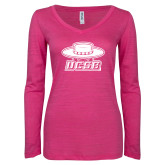 ENZA Ladies Hot Pink Long Sleeve V Neck Tee-Primary