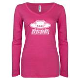 ENZA Ladies Hot Pink Long Sleeve V Neck Tee-Primary