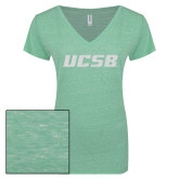 ENZA Ladies Seaglass Melange V Neck Tee-UCSB White Soft Glitter