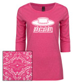 Ladies Dark Fuchsia Heather Lace 3/4 Sleeve Tee-Primary