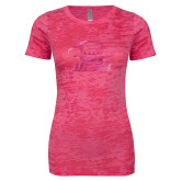 Next Level Ladies Junior Fit Fuchsia Burnout Tee-Primary Foil