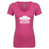 Next Level Ladies Junior Fit Deep V Pink Tee-Primary