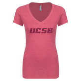 Next Level Ladies Vintage Pink Tri Blend V Neck Tee-UCSB Hot Pink Glitter