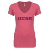 Next Level Ladies Vintage Pink Tri Blend V Neck Tee-UCSB Hot Pink Glitter