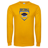 Gold Long Sleeve T Shirt-Softball Plate