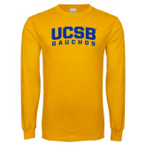 Gold Long Sleeve T Shirt-Arched UCSB Gauchos