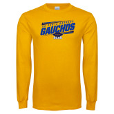 Gold Long Sleeve T Shirt-Slanted Gauchos Stencil