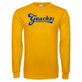 Gold Long Sleeve T Shirt-Gauchos Script