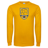 Gold Long Sleeve T Shirt-Soccer Shield