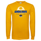 Gold Long Sleeve T Shirt-Gauchos Soccer Stacked