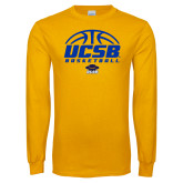 Gold Long Sleeve T Shirt-UCSB Basketball Half Ball